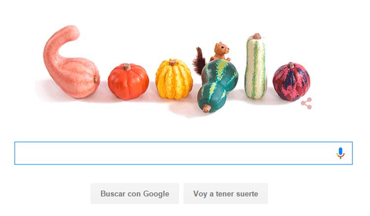 Google celebra la llegada del equinoccio de Otoño con un Doodle lleno de calabazas